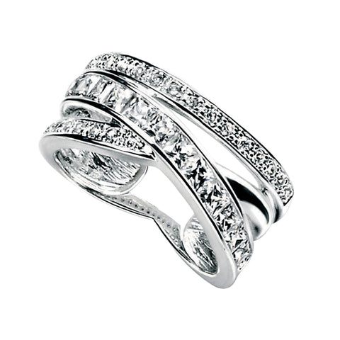 Cubic zirconia crossover band ring in silver