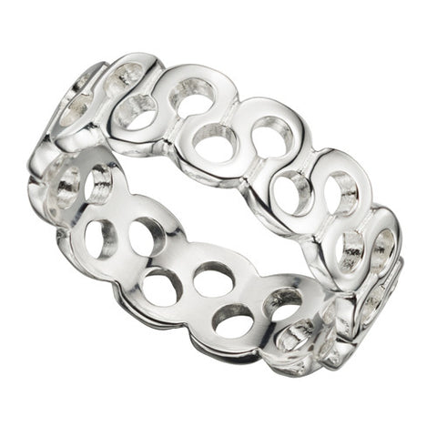 Cut-out circle dress ring in silver