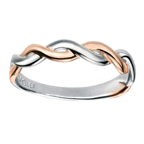 Twisted band ring in silver with rose gold plating