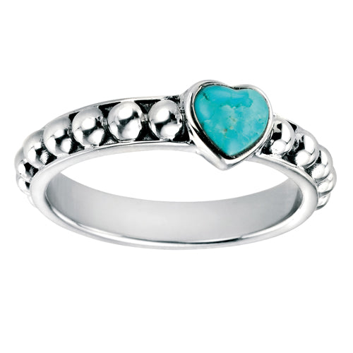 Heart shaped turquoise bead detail ring in silver
