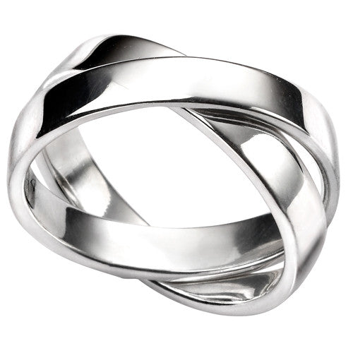 Double band ring in silver