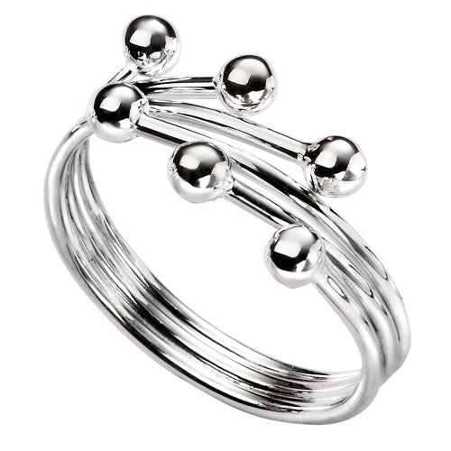 Bead detail crossover ring in silver