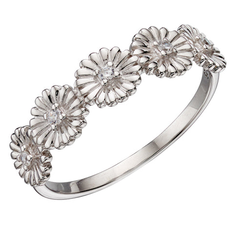 Cubic zirconia daisy ring in silver