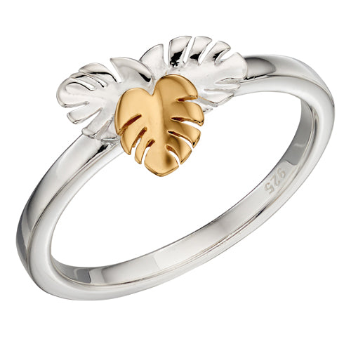Leaf design ring in silver with gold plating