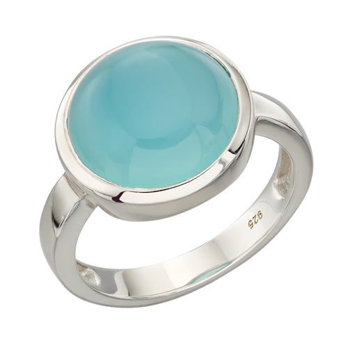 Agate solitaire ring in silver