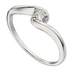 Cubic zirconia twist ring in silver