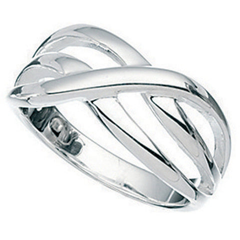 Triple crossover band ring in silver