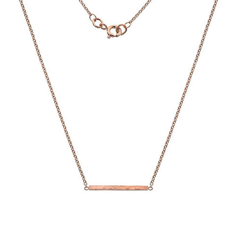 Hammered effect bar necklace in 9ct rose gold