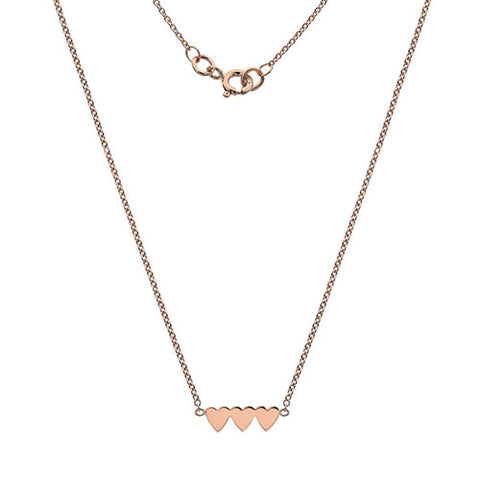 Triple heart necklace in 9ct rose gold