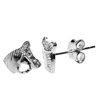 Horse stud earrings in silver