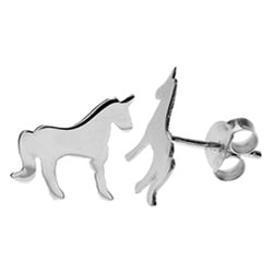Unicorn stud earrings in silver