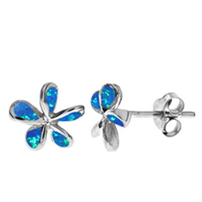 Blue simulated opal flower earrings in silver