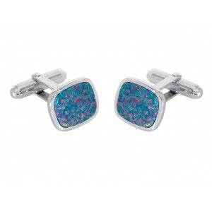 Cushion shape simulated opal cufflinks in silver