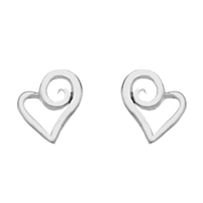 Swirl heart stud earrings in silver