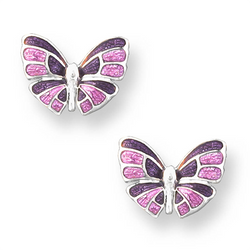 Purple butterfly stud earrings in silver