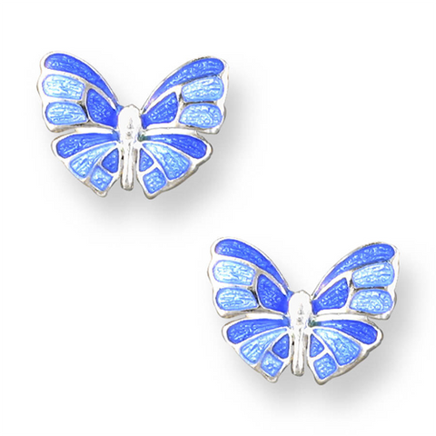 Blue butterfly stud earrings in silver