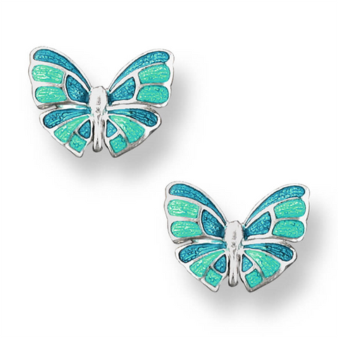Turquoise butterfly stud earrings in silver