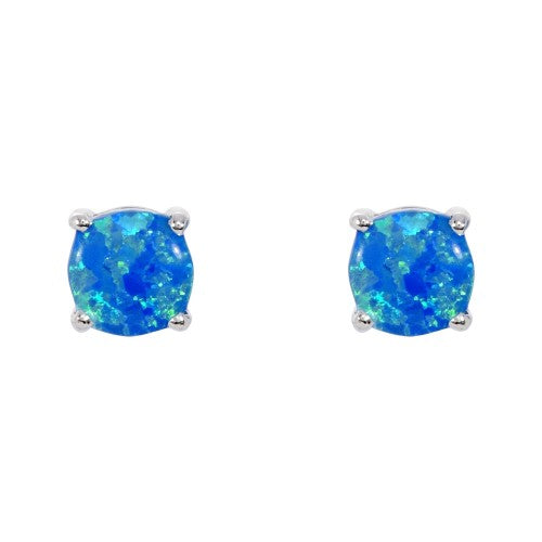 Blue simulated opal round stud earrings in silver