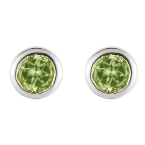 Peridot round 4mm stud earrings in silver