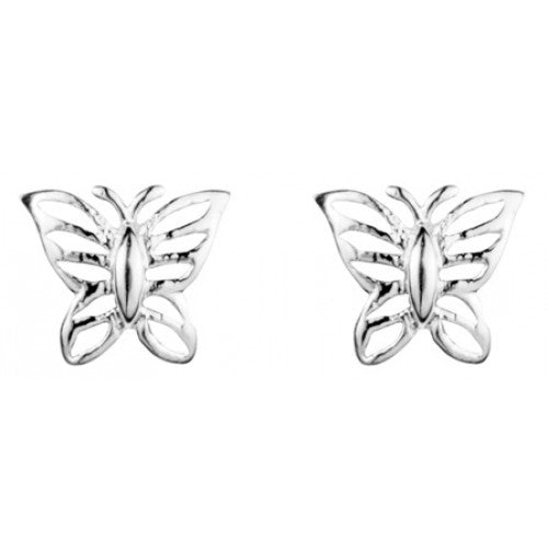 Butterfly stud earrings in silver