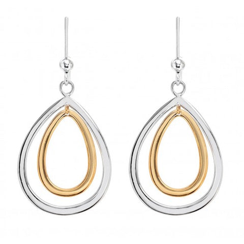Pear shape drop earrings in silver with yellow gold plating