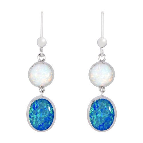 Simulated opal drop earrings in silver