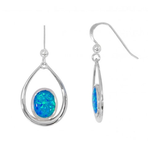 Blue simulated opal drop earrings in silver