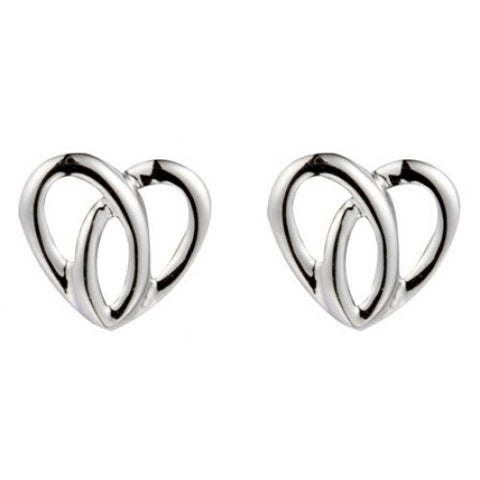 Open heart stud earrings in 9ct white gold