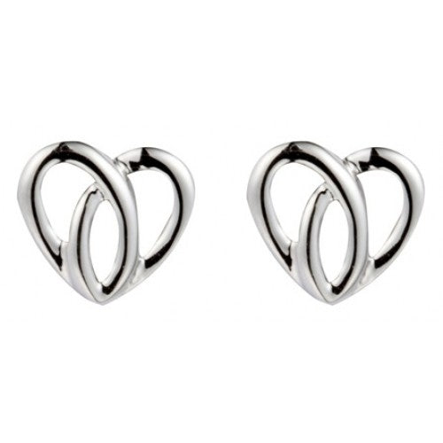 Open swirl heart shape stud earrings in silver