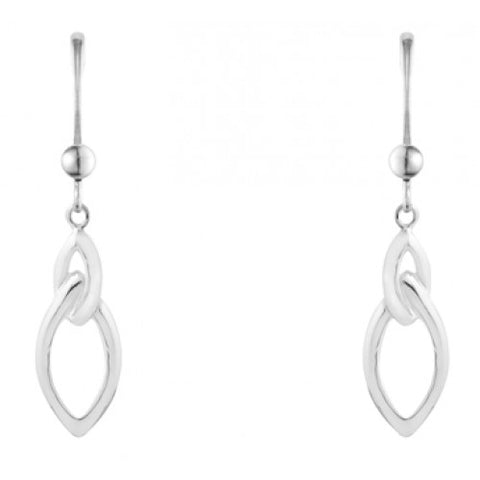 Open marquise shape drop earrings in silver