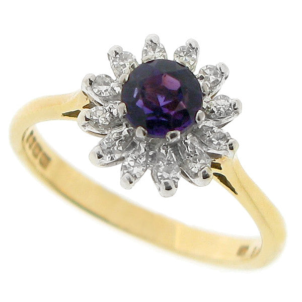 Amethyst and diamond cluster ring in 18ct gold
