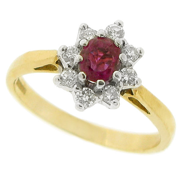Ruby and diamond cluster ring in 9ct gold