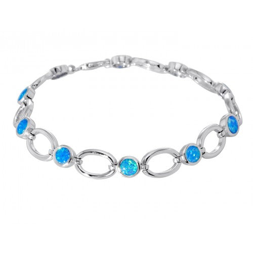 Blue simulated opal bracelet in silver