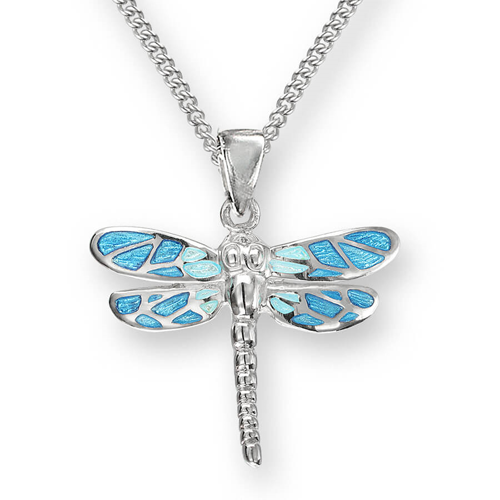 Blue dragonfly pendant and chain in silver