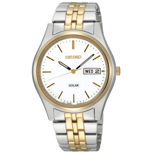 Watch - Men's Seiko Solar in two tone stainless steel SNE032P1  - PA Jewellery