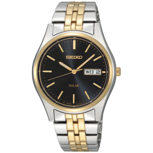 Watch - Men's Seiko Solar in two tone stainless steel SNE034P1  - PA Jewellery