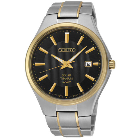 Watch - Men's Seiko Solar in two tone titanium SNE382P9  - PA Jewellery