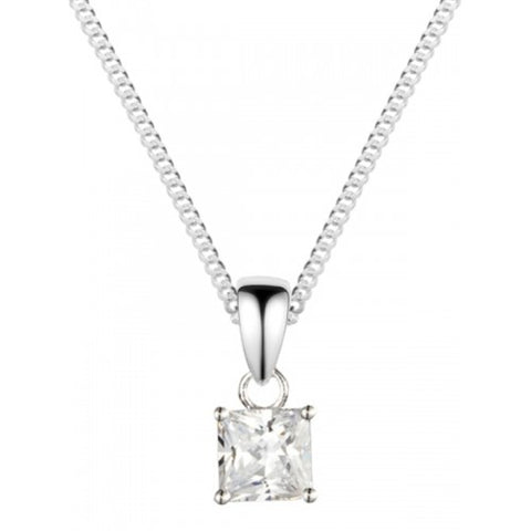 Square cubic zirconia solitaire pendant and chain in silver