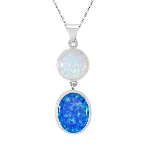 Blue and white simulated opal pendant and chain in silver