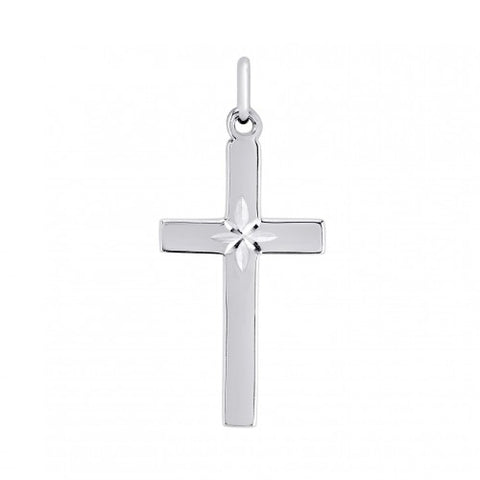 Diamond cut cross pendant and chain in silver