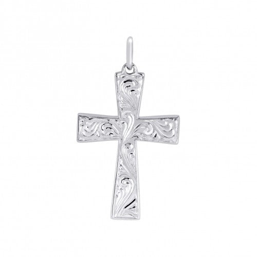Hand engraved cross pendant and chain in silver