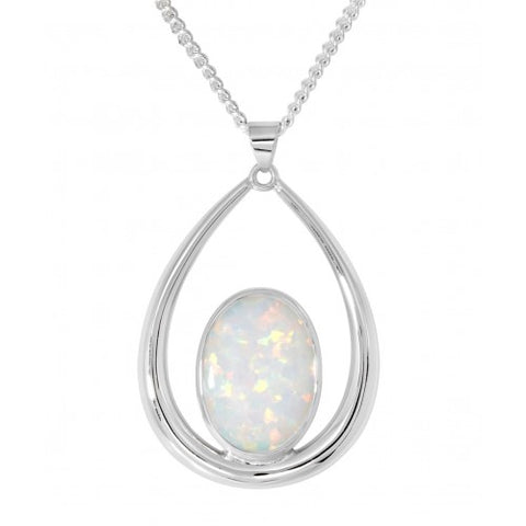 Simulated opal drop pendant and chain in silver