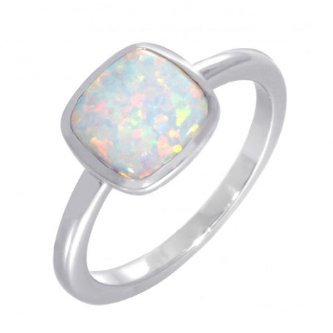 Simulated opal cushion shape ring in silver
