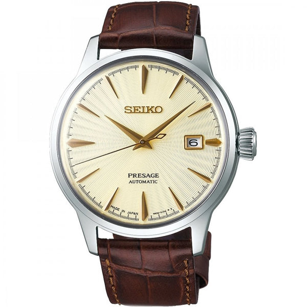 Men's Seiko Presage in stainless steel on leather SRPC99J1