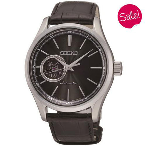 Watch - Men's Seiko Presage in stainless steel on leather SSA083J2  - PA Jewellery