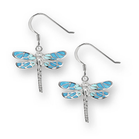 Blue dragonfly drop earrings in silver