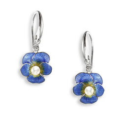 Earrings - Pansy earrings with freshwater pearl and enamel in silver  - PA Jewellery