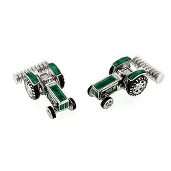 Accessory - Tractor cufflinks with enamel detail in silver  - PA Jewellery