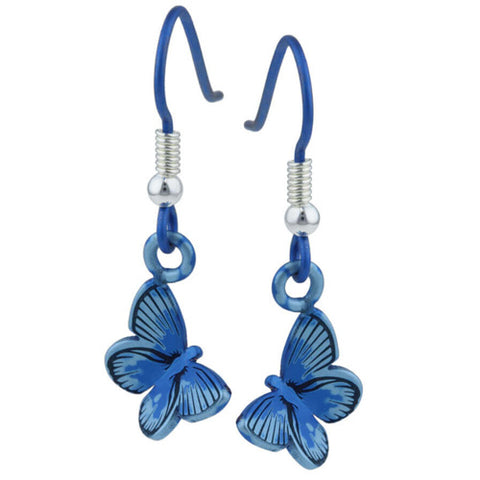 Butterfly earrings in titanium