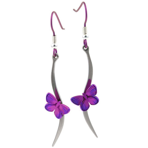 Butterfly stem earrings in titanium